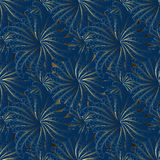 Цветки золота абстрактные на голубой предпосылке Стоковая Фотография