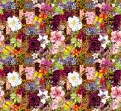 Цветки, индийский орнамент Картина акварели безшовная иллюстрация штока