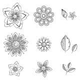 Цветки искусства Doodle Нарисованные рукой травяные элементы дизайна Стоковое Изображение