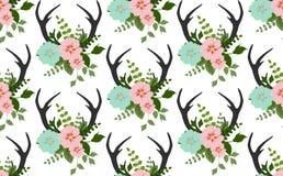 Цветки, листья, картина antlers безшовная Стоковое Изображение