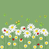 Цветки и бабочки в ряд иллюстрация вектора
