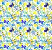 Цветки и бабочки Картина акварели флористическая безшовная watercolour Стоковая Фотография
