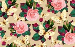 Цветки и бабочки картины вектора флористические безшовные стоковые изображения rf
