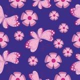 Цветки и бабочки на темноте бесплатная иллюстрация