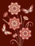 Цветки и бабочки иллюстрация вектора