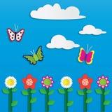 Цветки и бабочки Стоковое Изображение RF