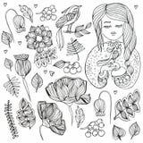 Цветки и девушка Doodle с птицей valentines милой розетки конструкции дня установленные ваши анти- stre Стоковое Фото