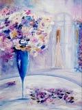 Цветки и женщина Стоковая Фотография