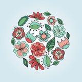 Цветки и листья в округлой форме Бесплатная Иллюстрация