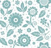 Цветки и листья, декоративная предпосылка, безшовный, голубой и белый, вектор Стоковое Фото