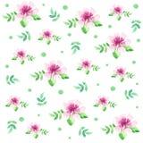 Цветки и листья с картиной акварели точек польки безшовной Стоковые Изображения RF