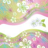 Цветки и линия весны конструируют шаблон, верхнюю часть, границу иллюстрация штока