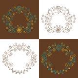 Цветки и листья орнаментальная предпосылка, иллюстрация вектора иллюстрация штока