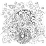 Цветки и мандалы Doodle Стоковое Изображение