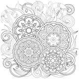 Цветки и мандалы Doodle Стоковое фото RF