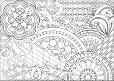 Цветки и мандалы Doodle Стоковая Фотография RF