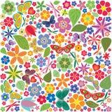 Цветки и покрашенная бабочками картина Стоковое Изображение