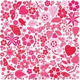 Цветки и покрашенная бабочками картина Стоковое Изображение RF