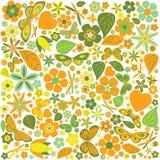 Цветки и покрашенная бабочками картина Стоковые Изображения