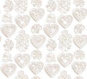 Цветки и предпосылка сердец безшовная. Текстура японца эффектной демонстрации. Стоковые Изображения RF