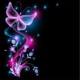 Цветки и прозрачная бабочка иллюстрация вектора