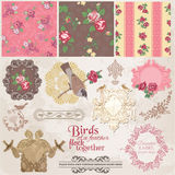 Цветки и птицы год сбора винограда Стоковые Фото
