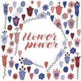 Цветки и сердца руки вычерченные doodle Голубые, красные цветки Литерность силы цветка Сердца sweety Doodle бесплатная иллюстрация