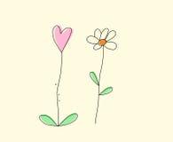 Цветки и сердце нарисованные рукой Стоковая Фотография