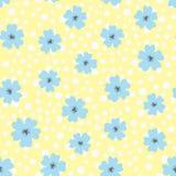Цветки и точка польки Нарисовано вручную милая картина безшовная иллюстрация штока