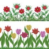 Цветки и трава, установили безшовный Стоковое Изображение