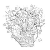 Цветки и трава Doodle Стоковое фото RF