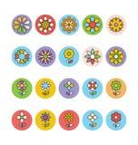 Цветки и флористические покрашенные значки 5 вектора Стоковое Изображение RF