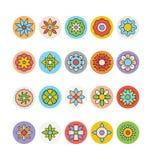 Цветки и флористические покрашенные значки 6 вектора Стоковые Фотографии RF