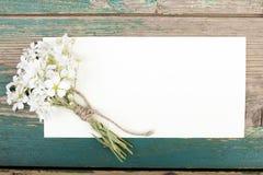 Цветки и чистый лист бумаги Стоковые Фото