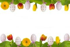 Цветки и яичка рамки пасхи красочные Стоковые Фотографии RF