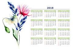Цветки календаря 2018 стилизованные Стоковое фото RF