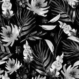 Цветки картины акварели конспекта флористические безшовные, хворостины, leav иллюстрация вектора