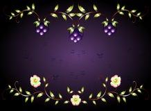 Цветки картины желтые на фиолетовом основании иллюстрация графика феиэрверков eps10 предпосылки черная Стоковая Фотография