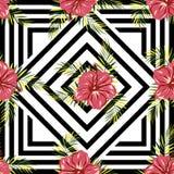 Цветки картины на геометрической предпосылке Стоковое Фото