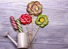 Цветки конфет леденца на палочке Стоковая Фотография