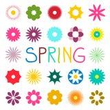 Цветки красочной весны плоские изолированные на белой предпосылке стоковые изображения