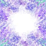 Цветки лаванды акварели на белой предпосылке флористическая рамка круглая Приглашение, поздравительная открытка или элемент для в иллюстрация штока