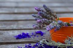 Цветки лаванды на деревенской деревянной предпосылке стоковые фото