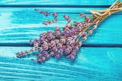 Цветки лаванды на светлой деревянной предпосылке стоковая фотография