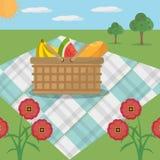 Цветки луга одеяла корзины пикника иллюстрация вектора