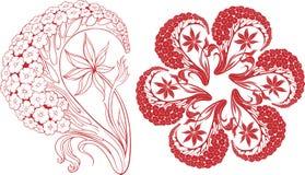 Цветки на ветви и элементе орнамента Стоковое фото RF