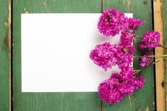 Цветки на винтажных деревянных планках с чистым листом бумаги Стоковые Фото
