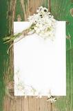 Цветки на винтажных деревянных планках с чистым листом бумаги Стоковая Фотография RF