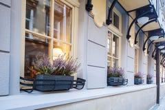 Цветки на улице окон Стоковое фото RF