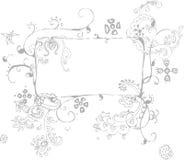 цветки обрамляют серый цвет Стоковые Фотографии RF